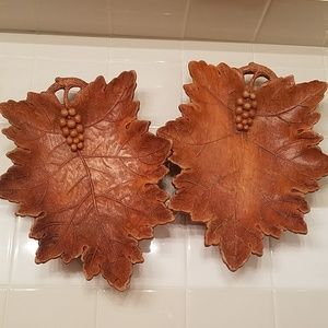Decorative Leaf and Grape Bowl - Pressed Wood